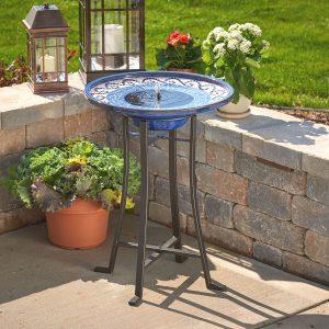 Mosaic Solar Birdbath with Metal Stand - Glazed Ceramic