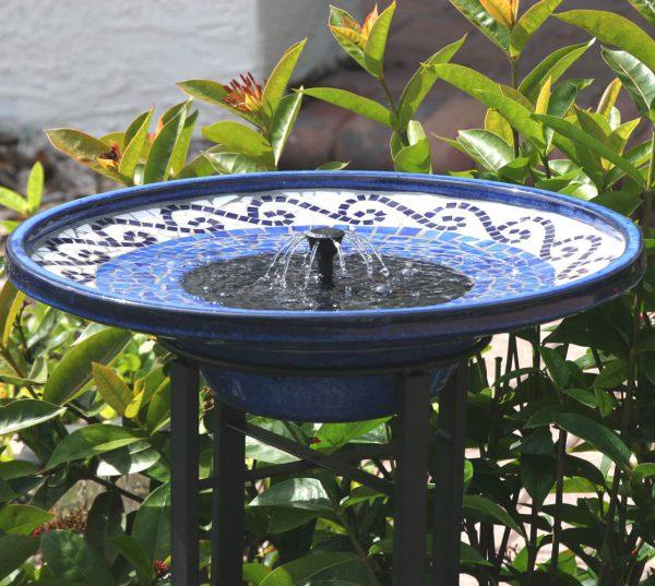 20747R01 - Solar Mosaic Ceramic Birdbath