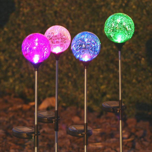 3067MRM12 - Chameleon Crackled Glass Orb Solar Stake Light Assortment