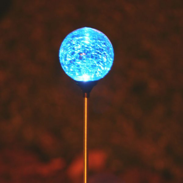 3067MRM12 - Chameleon Crackled Glass Orb Solar Stake Light - Blue
