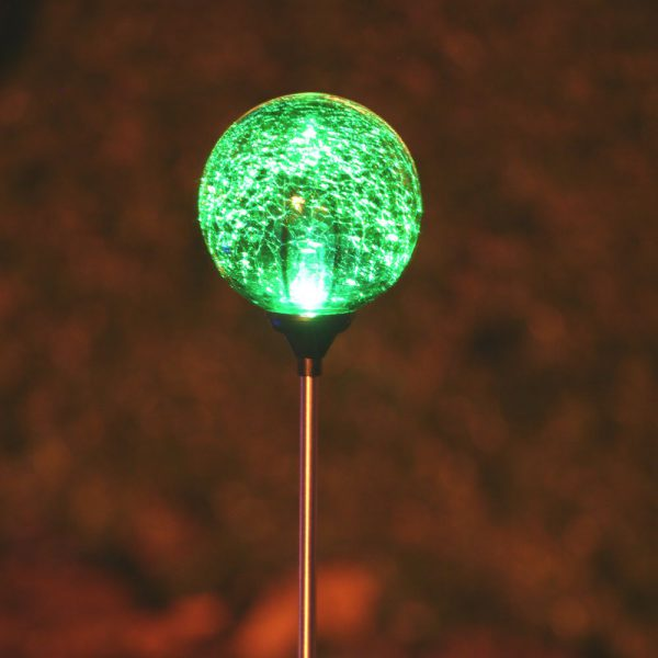 3067MRM12 - Chameleon Crackled Glass Orb Solar Stake Light - Green