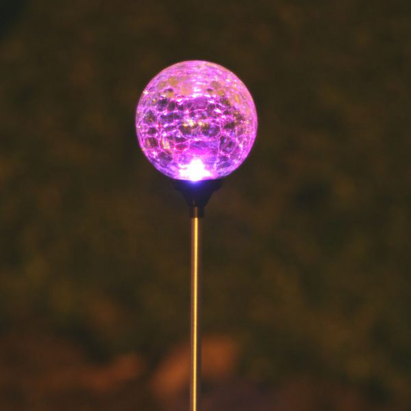 3067MRM12 - Chameleon Crackled Glass Orb Solar Stake Light - Pink