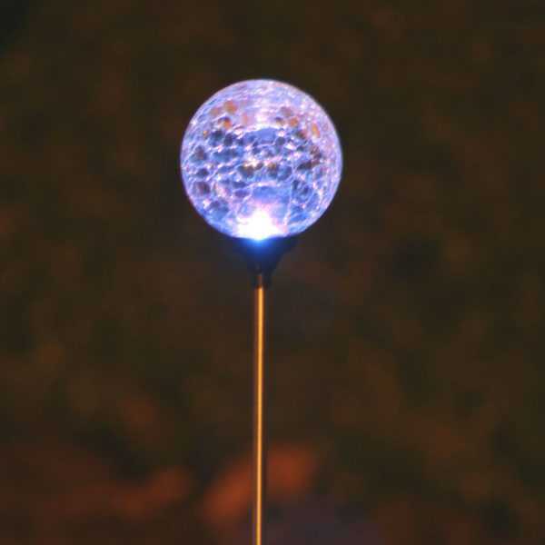 3067MRM12 - Chameleon Crackled Glass Orb Solar Stake Light - Clear