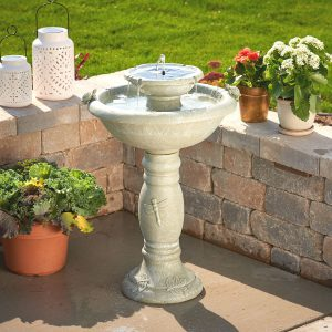 34222RM1 - Country Gardens 2-Tier Solar-On-Demand Fountain - Weathered Stone - Birdbath