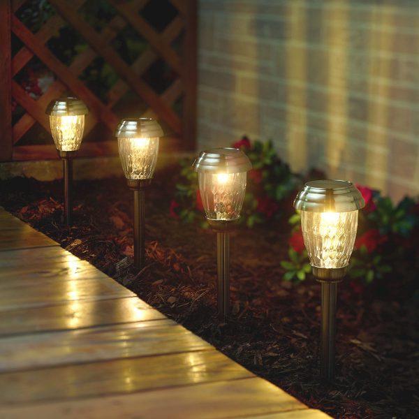 3426WRM6-HP Charleston Path Lights Pewter - at Night