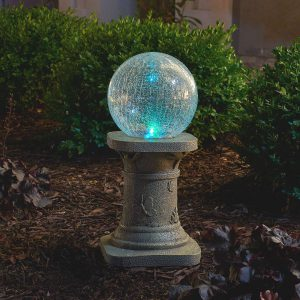 3560MRM1 - Crackled Glass Solar Chameleon Gazing Ball with Pedestal