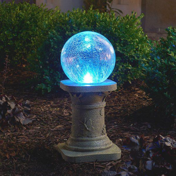 3560MRM1 - Crackled Glass Solar Chameleon Gazing Ball with Pedestal