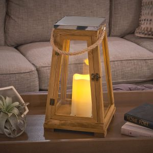 "84044-LC - Newport 15"" H LED Candle Lantern - Natural Wood"