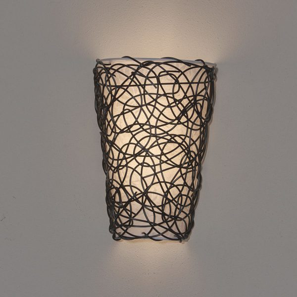 IEL-2100 - White Shade with Black Wicker and Flicker - White light
