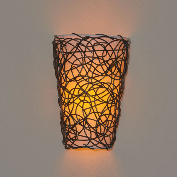 IEL-2100 - White Shade with Black Wicker and Flicker - Amber light