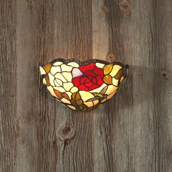 IEL-9000 - Tiffany Rose Leaf Stained Glass Sconce