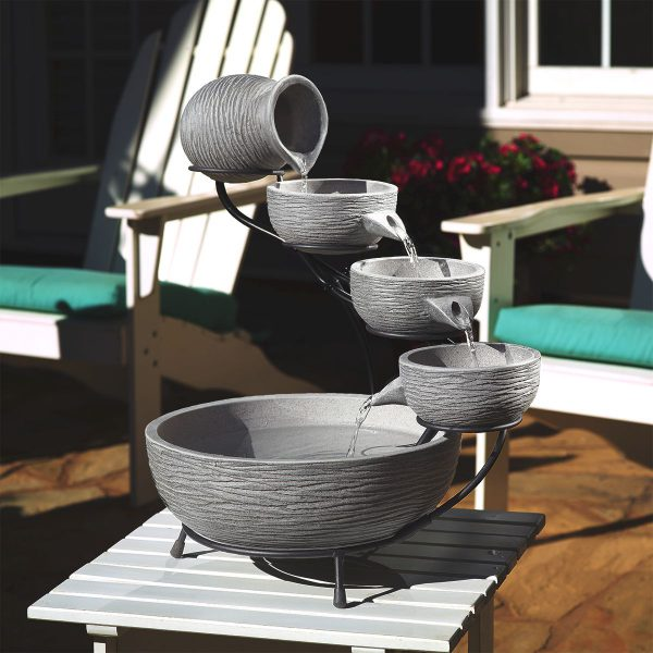 Oslo Solar Cascade Fountain - Dark Grey Cement